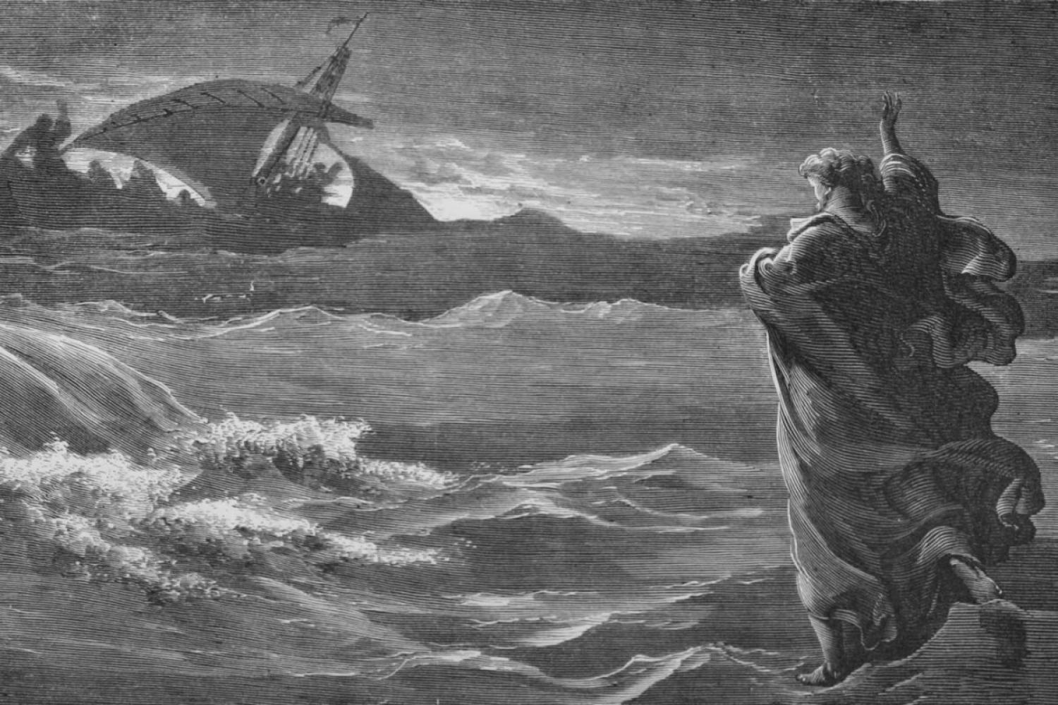 "Gustave Dore's ""Jesus Walking on the Sea"""