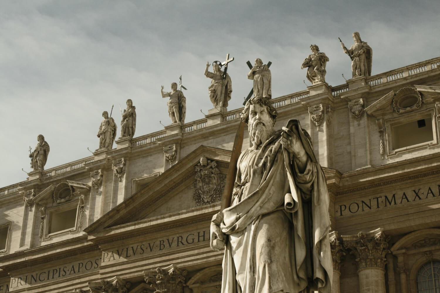 St. Paul and the Façade of St. Peter's Basilica