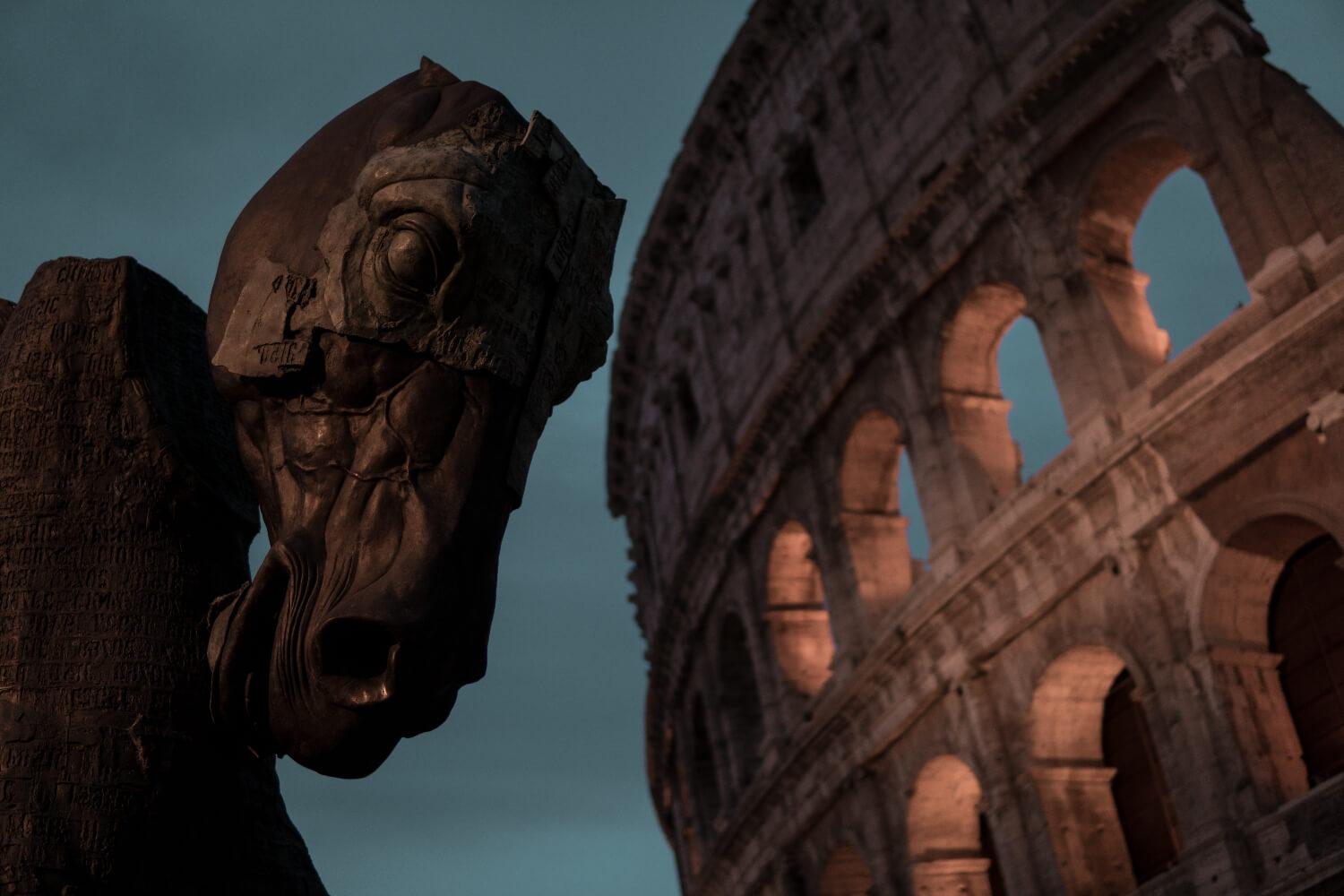Horse Statue and the Colosseum