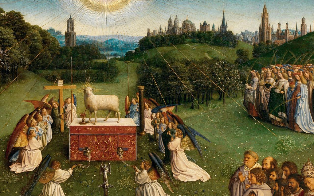 """Adoration of the Mystic Lamb"" from the Ghent Altarpiece, by Hubert and Jan Van Eyck"