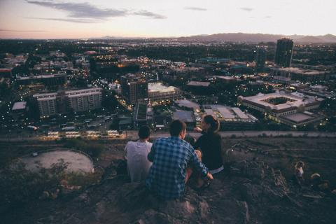 "Students sitting on ""A"" Mountain in Tempe, overlooking ASU"