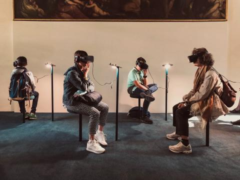 Virtual reality headsets in an art museum